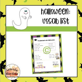 Halloween Vocabulary List