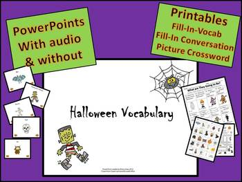 ESL Halloween Vocabulary Listening PowerPoints and Printables
