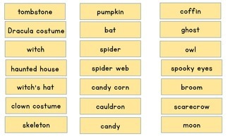 Halloween Vocabulary Match