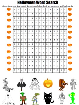 Halloween Vocabulary: Matching, Word Search, and Fill-in-the-Blanks