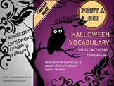 Complete Halloween Vocabulary Puzzle Activities for Ind &