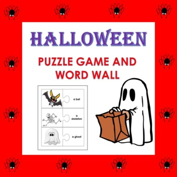 Halloween Vocabulary Puzzle Game and Word Wall in English