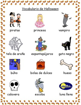 Halloween Vocabulary Spanish