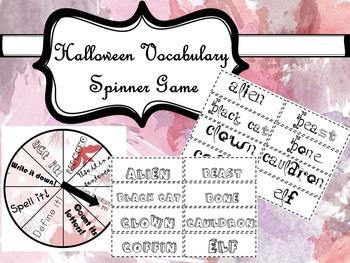 Vocabulary Spinner Game - Halloween Activity