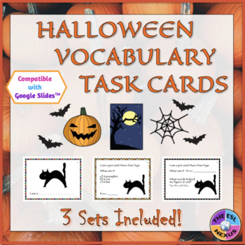 Halloween Vocabulary Task Cards for ELLs and Mainstream St