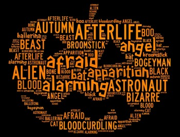 Halloween Vocabulary Word Cloud in Pumpkin Shape (Words Starting with A & B)