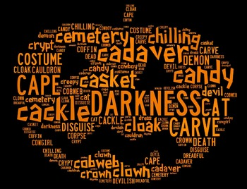 Halloween Vocabulary Word Cloud in Pumpkin Shape (Words Starting with C & D)