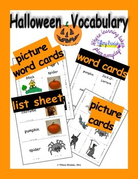 Halloween Vocabulary Word, Flash, & Picture Cards; Great for Primary, ESOL & ESE