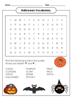 Halloween Vocabulary Word Search