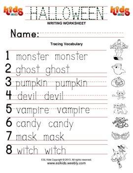 Halloween Vocabulary Writing Practice