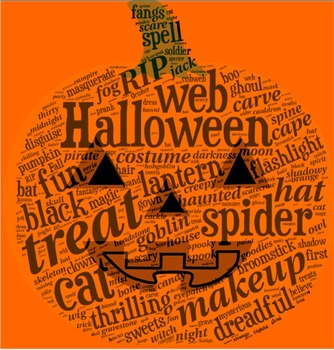 Halloween Vocabulary image for Classroom Decoration Poster or Sign