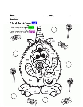 Halloween Vowel Color Pages