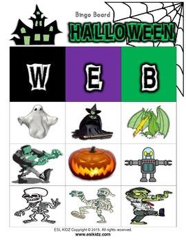 """Halloween """"WEB"""" Bingo 3X3 Boards w/flashcards"""