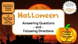 Halloween WH Questions & Following Directions Speech (12 Worksheets, 96 Cards)