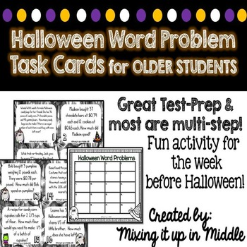 Halloween WORD PROBLEM Task Cards for Older Students--MULTI-STEP