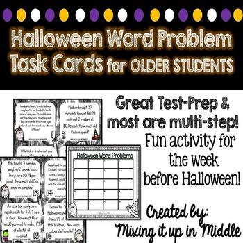 Halloween WORD PROBLEM Task Cards for Older Students--MULTI-STEP