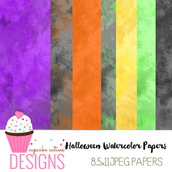 Halloween Watercolor Paper Digital Paper Pack 8.5 x 11 JPEG