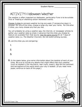 Halloween Weather FREE Choice Board Activity for Middle School Math