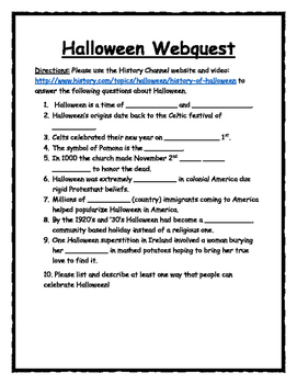 history of halloween webquest - Halloween Web Quest