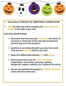 Halloween Webquest - Reading Comprehension, Computer Tech