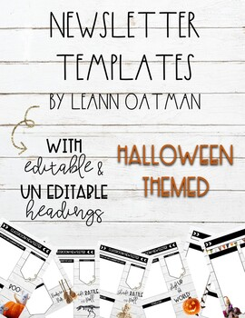 Halloween Weekly newsletter Templates editable