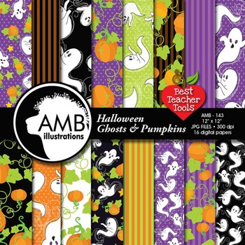 Halloween Digital Papers, Whispy Ghosts Scrapbook Papers, AMB-143