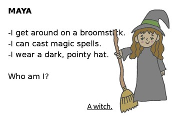 Halloween Who Am I? Inferencing Animated Story + NO PREP Writing Activity