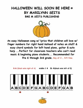 Halloween Will Soon Be Here - easy song for classroom teachers