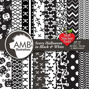 Halloween Wispy Ghosts scrapbook papers in Black and White, AMB-149