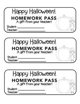 """Halloween"" Witch & Big Pumpkin - Homework Pass – FUN! (black line version)"