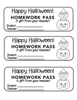 """Halloween"" Witch Cat Pumpkin - Homework Pass –Holiday FUN! (black line version)"