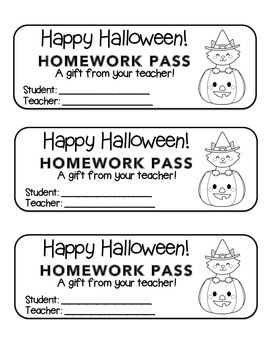 """""""Halloween"""" Witch Cat Pumpkin - Homework Pass –Holiday FUN"""