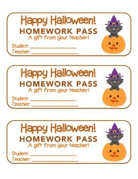 """Halloween"" Witch Cat Pumpkin - Homework Pass –Holiday FUN! (color & black line)"