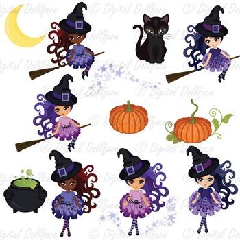 Halloween Witch Clipart, Black Cat, Pumpkin, Cauldron Clip Art Set
