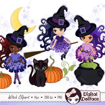 Halloween Witch Clipart, Black Cat, Pumpkin, Cauldron Clip