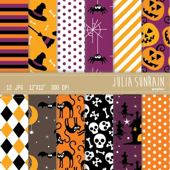 Halloween Witch Digital Paper Set - Instant Download