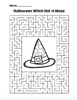 Halloween Witch Hat 1 Maze!  Halloween Maze FUN! (Color and Black Line)