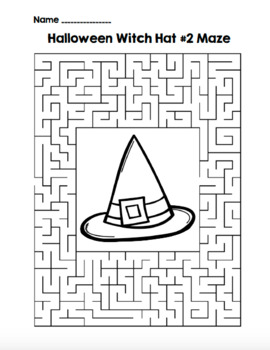 Halloween Witch Hat 2 Maze!  Halloween Maze FUN! (Color and Black Line)