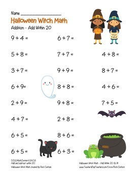 """""""Halloween Witch Math"""" Add Within 20 - Common Core - Addition Fun! (color)"""