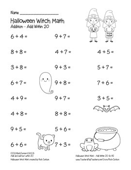 """Halloween Witch Math"" Add Within 20 - Common Core - FUN! (color & black line)"