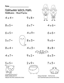 """Halloween Witch Math"" Mixed Multiplication - Common Core - FUN! (black line)"