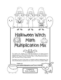 """""""Halloween Witch Math"""" Mixed Multiplication - Common Core - FUN! (black line)"""