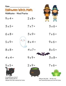 """""""Halloween Witch Math"""" Mixed Multiplication - Common Core! (black line & color)"""