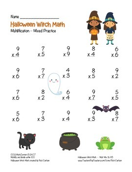 """Halloween Witch Math"" Mixed Multiplication - Common Core! (black line & color)"