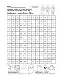 """""""Halloween Witch Math"""" Multiplication Fill Ins  – Easy - FUN! (black line)"""