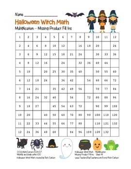 """""""Halloween Witch Math"""" Multiplication Fill Ins  – Easy - FUN! (color)"""