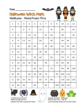 """Halloween Witch Math"" Multiplication Fill Ins  –Hard -FUN! (black line & color)"