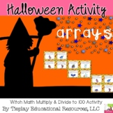 Halloween Witch Math Multiply and Divide within 100 Arrays Center Station