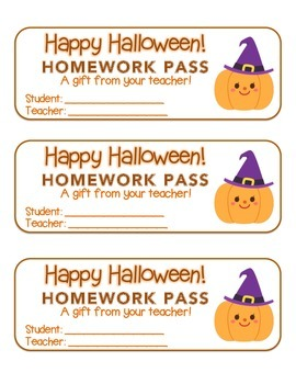 """Halloween"" Witch Pumpkin - Homework Pass – Holiday FUN! (full color version)"