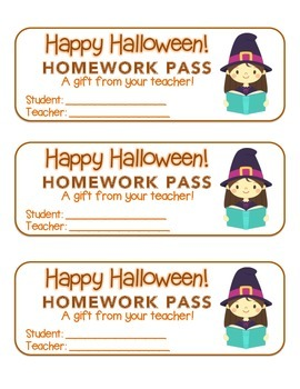 """""""Halloween"""" Witch Reading - Homework Pass – FUN! (color & black line)"""